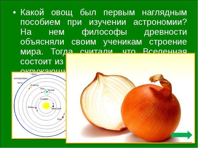 Какой овощ был первым наглядным пособием при изучении астрономии? На нем фило...
