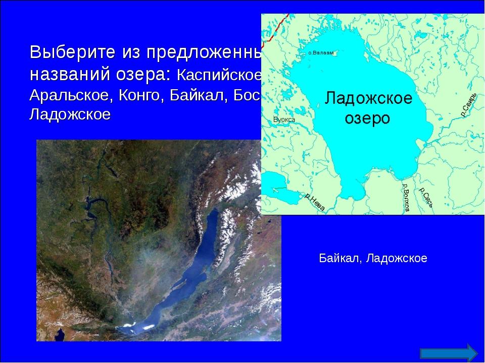 Выберите из предложенных географических названий озера: Каспийское, Бенгельск...