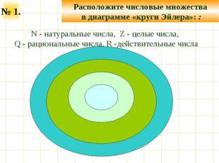 N - натуральные числа, Z - целые числа, Q - рациональные числа, R -действит