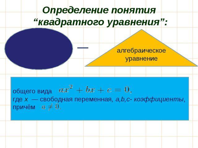 """Определение понятия """"квадратного уравнения"""": Квадра́тное уравне́ние общего ви..."""