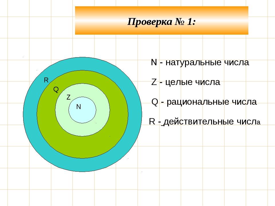 N - натуральные числа Z - целые числа Q - рациональные числа  R - действи...