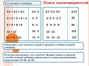 Рассмотрите таблицы: Объясните, как связаны левый и правый столбцы каждой таб