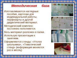 Методическая база Изготавливаются наглядные пособия, карточки для индивидуаль