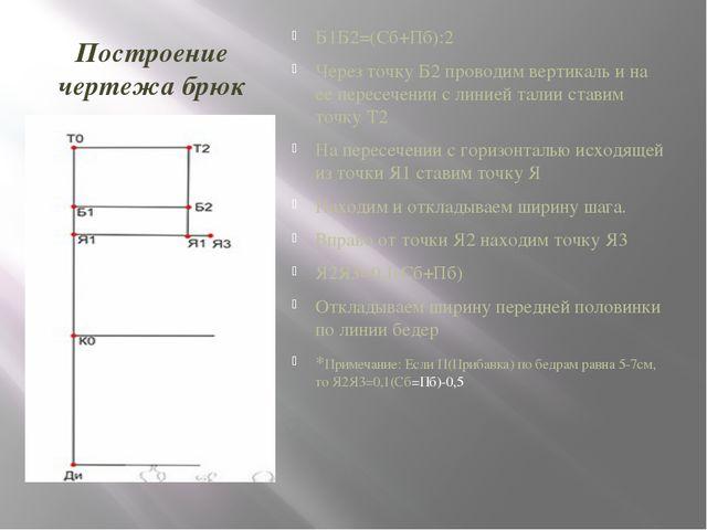 Построение чертежа брюк Б1Б2=(Сб+Пб):2 Через точку Б2 проводим вертикаль и на...