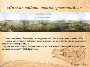 """«Вам не видать таких сражений…» Длина панорамы """"Бородино"""" по окружности 115 м"""