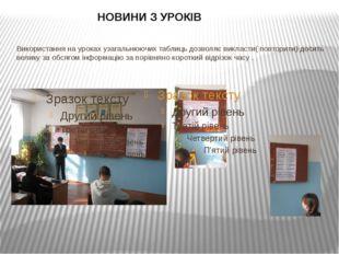 Використання на уроках узагальнюючих таблиць дозволяє викласти( повторити) до