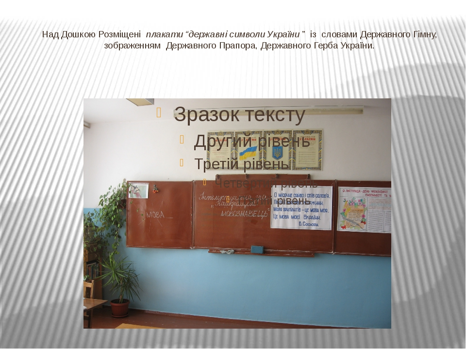 """Над Дошкою Розміщені плакати """"державні символи України"""" із словами Державно..."""