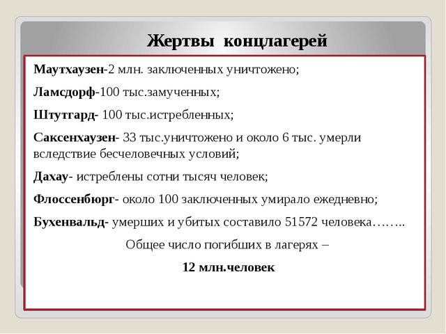Жертвы концлагерей Маутхаузен-2 млн. заключенных уничтожено; Ламсдорф-100 тыс...