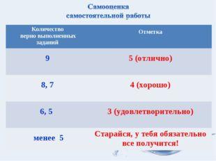 Количество верно выполненных заданий Отметка 9  5 (отлично) 8, 7  4 (хорош