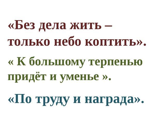 «Без дела жить – только небо коптить». « К большому терпенью придёт и уменье...