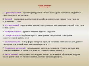 Основные компоненты современного урока 1. Организационный – организация груп