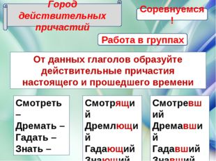Город действительных причастий От данных глаголов образуйте действительные пр