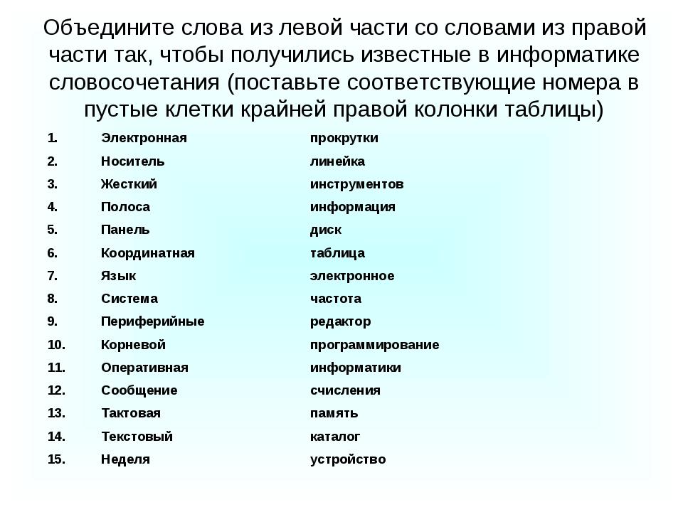 Объедините слова из левой части со словами из правой части так, чтобы получил...