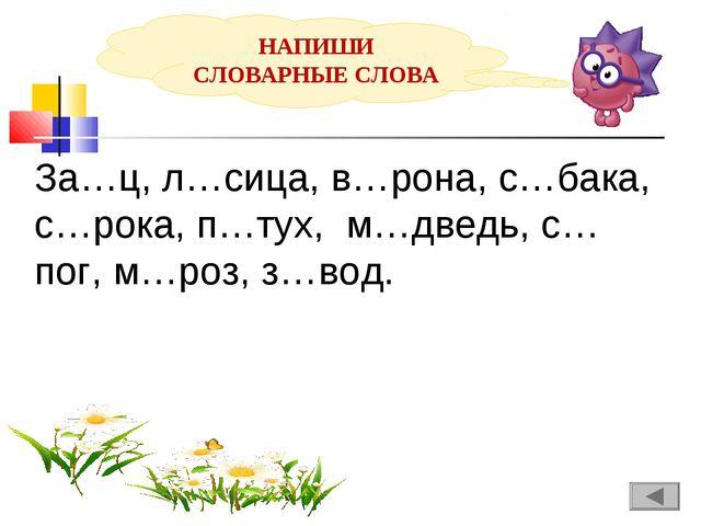 НАПИШИ СЛОВАРНЫЕ СЛОВА За…ц, л…сица, в…рона, с…бака, с…рока, п…тух, м…дведь,...