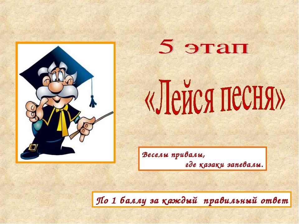 По 1 баллу за каждый правильный ответ Веселы привалы, где казаки запевалы.