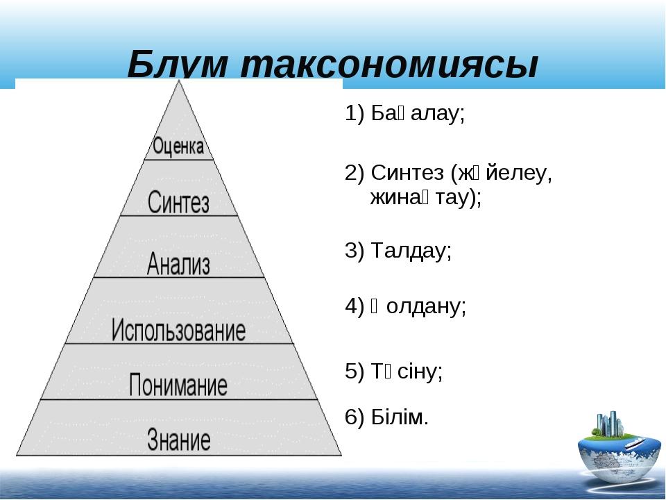 Блум таксономиясы 2) Синтез (жүйелеу, жинақтау); 3) Талдау; 4) Қолдану; 5) Тү...
