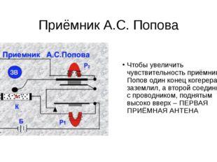 Приёмник А.С. Попова Чтобы увеличить чувствительность приёмника, Попов один к