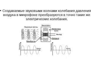 Создаваемые звуковыми волнами колебания давления воздуха в микрофоне преобраз