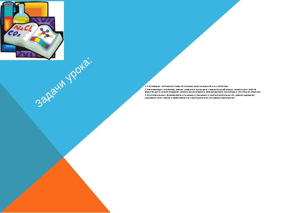 Задачи урока: 1. Обучающие: обобщение темы «Основные классы веществ и их свой...