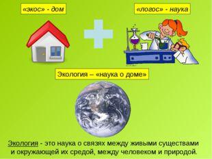«экос» - дом «логос» - наука Экология – «наука о доме» Экология - это наука о
