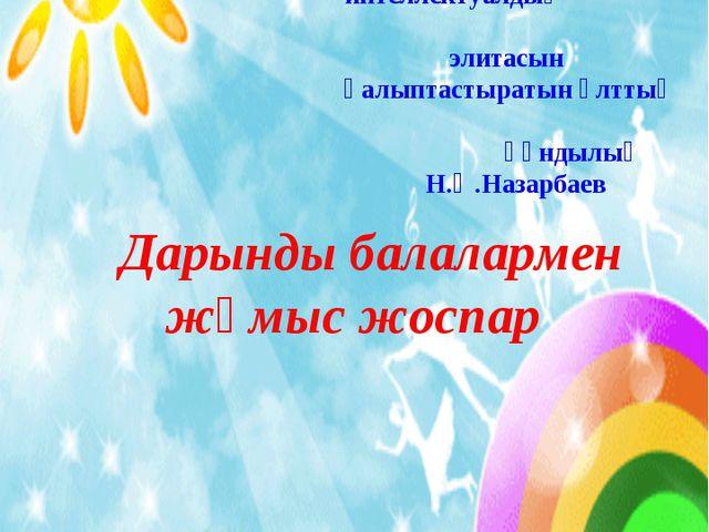 """Дарынды балалармен жұмыс жоспар """"Глазунов орта мектебі"""" ММ Дарынды балала..."""