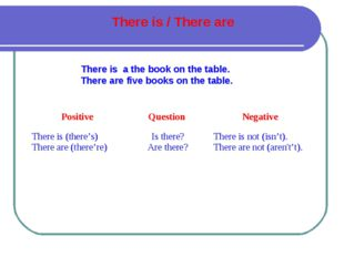 There is a the book on the table. There are five books on the table. There is