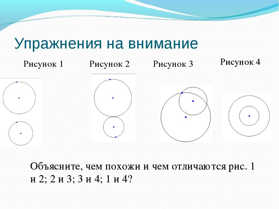 Упражнения на внимание Рисунок 1 Рисунок 2 Рисунок 3 Рисунок 4 Объясните, чем...