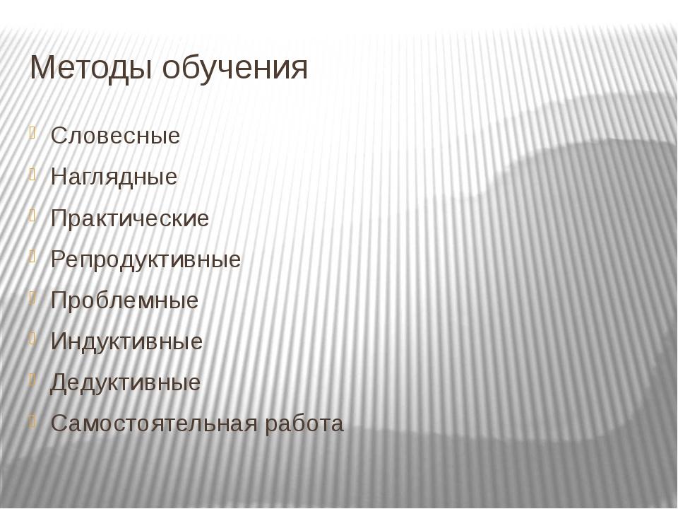 Методы обучения Словесные Наглядные Практические Репродуктивные Проблемные Ин...