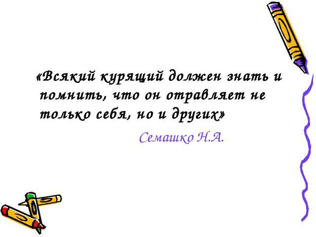 «Всякий курящий должен знать и помнить, что он отравляет не только себя, но...