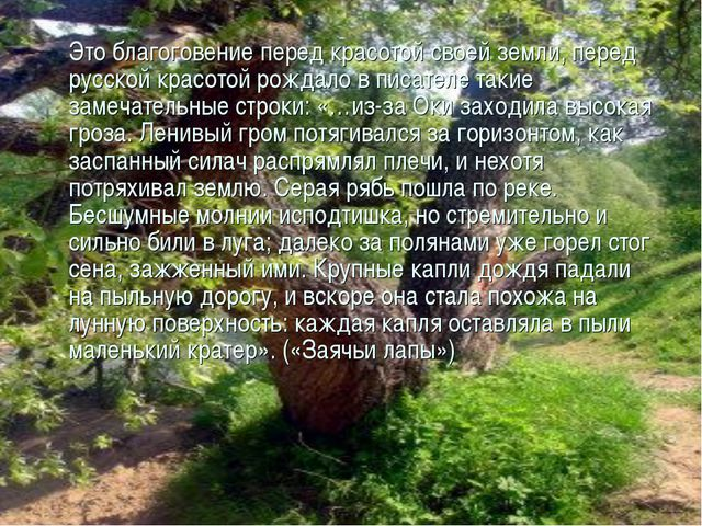 Это благоговение перед красотой своей земли, перед русской красотой рождало...