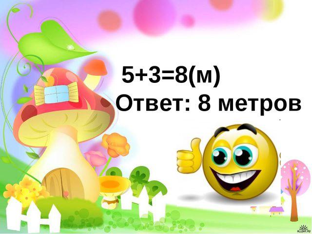 5+3=8(м) Ответ: 8 метров