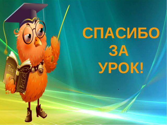 СПАСИБО ЗА УРОК! .