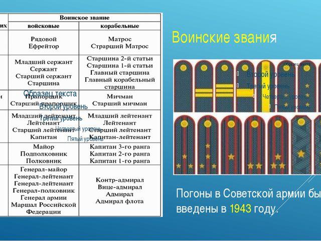 Листопад воинские звания российской армии с1943 года что удачное