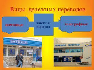 денежные переводы Виды денежных переводов почтовые телеграфные