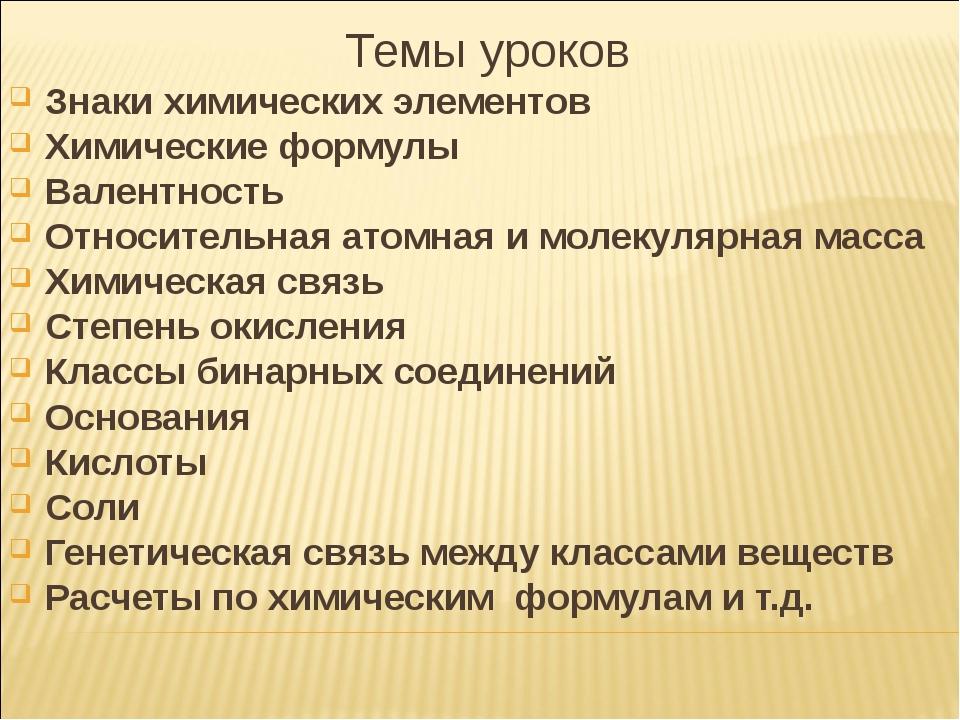 Темы уроков Знаки химических элементов Химические формулы Валентность Относит...