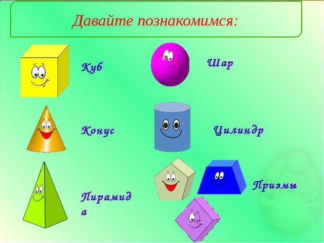 Давайте познакомимся: Куб Конус Пирамида Шар Призмы Цилиндр