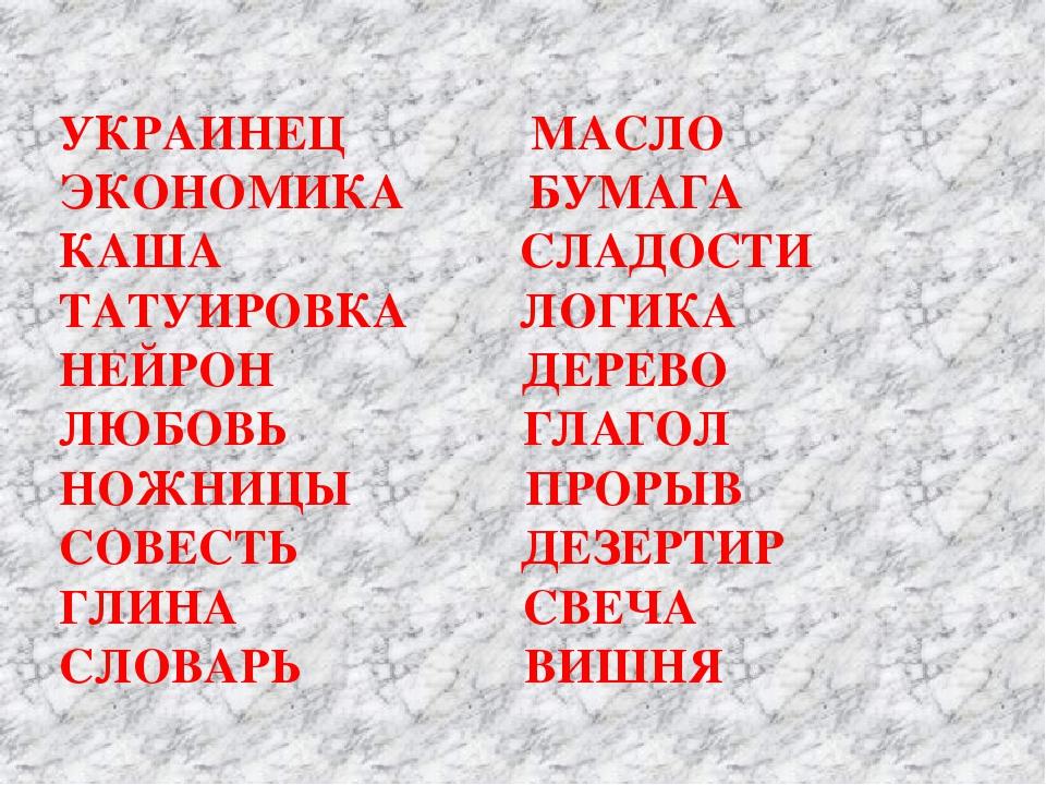 УКРАИНЕЦ МАСЛО ЭКОНОМИКА БУМАГА КАША СЛАДОСТИ ТАТУИРОВКА ЛОГИКА НЕЙРОН ДЕРЕВ...