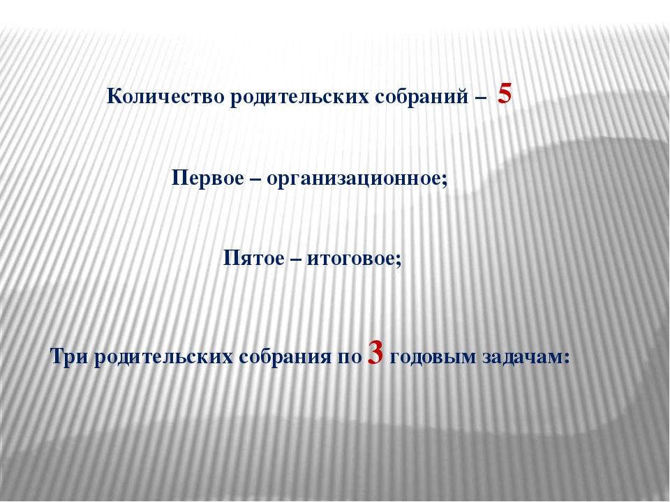 Количество родительских собраний – 5 Первое – организационное; Пятое – итогов...
