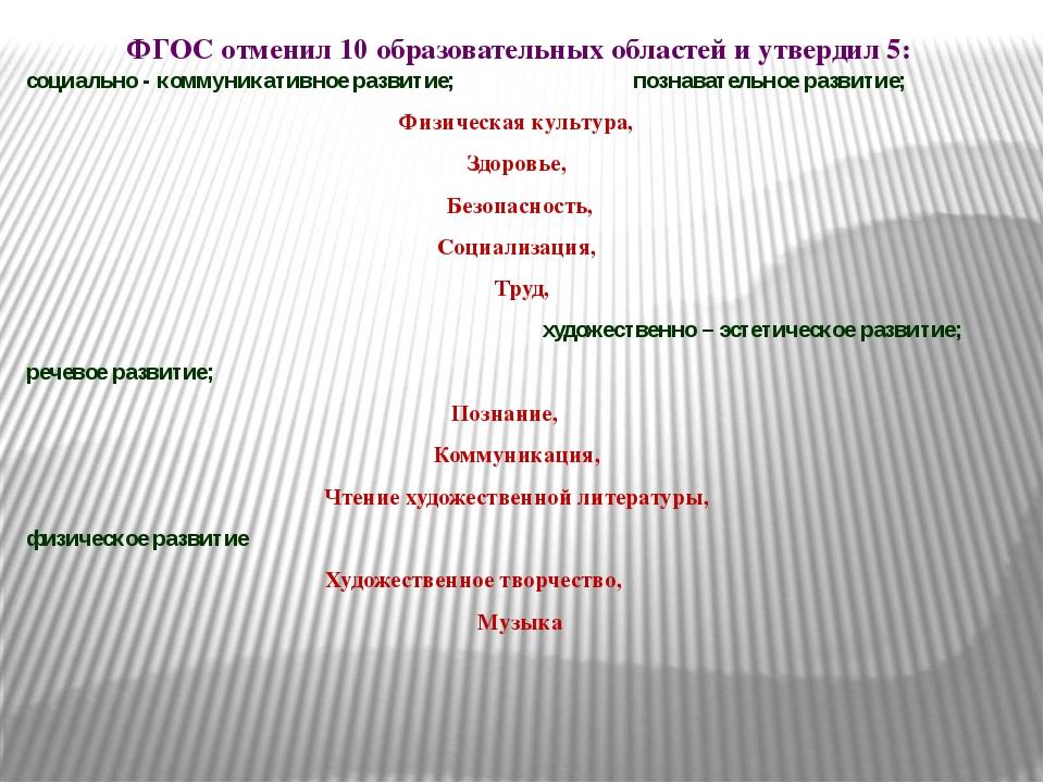 ФГОС отменил 10 образовательных областей и утвердил 5: социально - коммуникат...