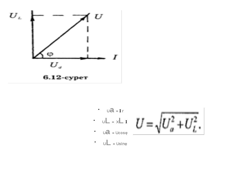 Ua =  r UL = XL  Ua = Ucos UL = Usin