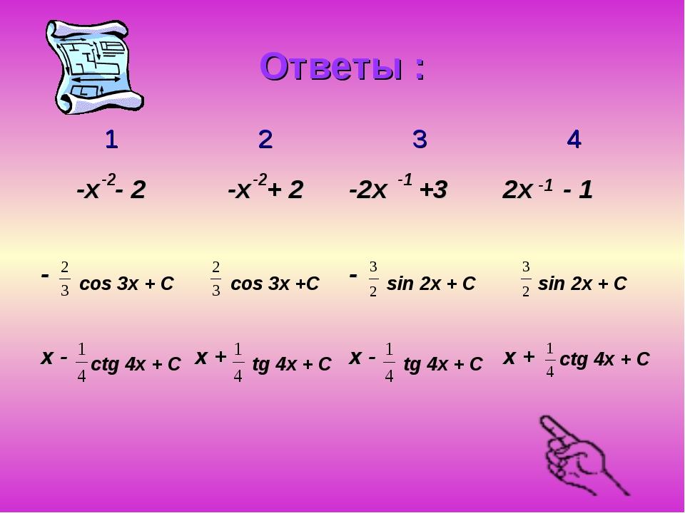 Ответы : -2 -2 -1 -1 cos 3x + С cos 3x +С sin 2x + C sin 2x + C ctg 4x + C ct...