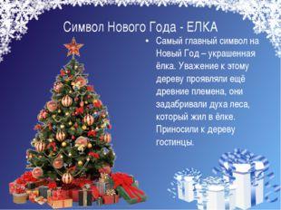 Символ Нового Года - ЕЛКА Самый главный символ на Новый Год – украшенная ёлка
