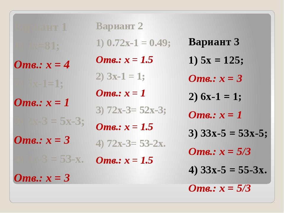Вариант 1 1) 3x=81; Отв.: x = 4 2) 5x-1=1; Отв.: x = 1 3) 2x-3 = 5x-3; Отв.:...