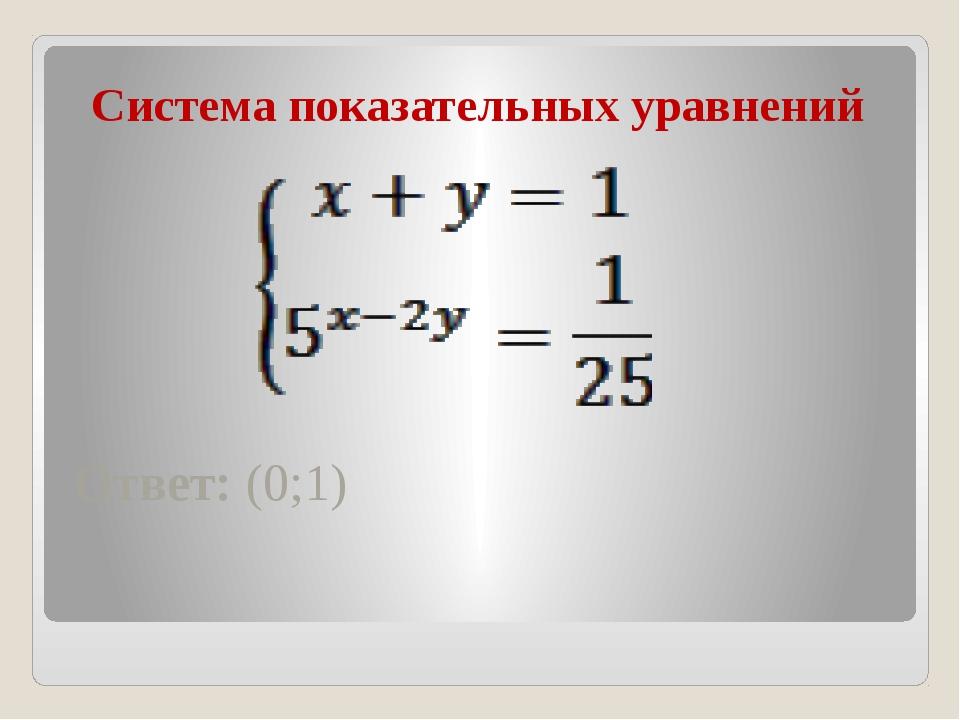 Система показательных уравнений Ответ: (0;1)