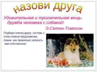 Удивительная и трогательная вещь-дружба человека с собакой! Э.Сетон-Томпсон П