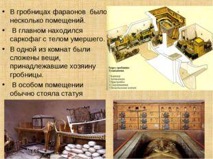 В гробницах фараонов было несколько помещений. В главном находился саркофаг с