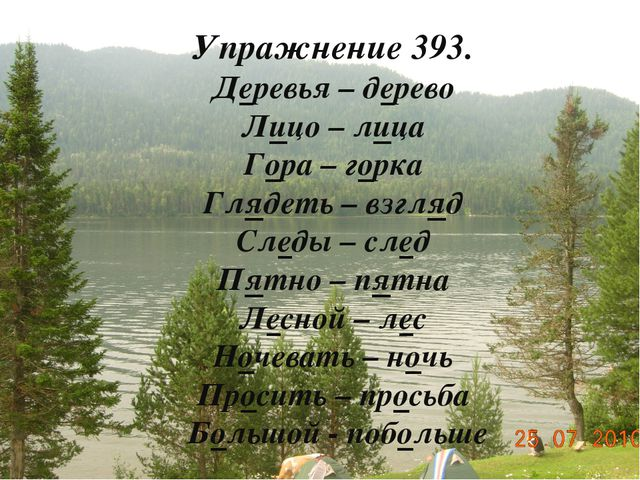 Упражнение 393. Деревья – дерево Лицо – лица Гора – горка Глядеть – взгляд Сл...