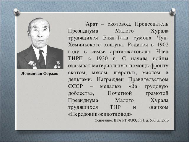 Лопсанчап Ооржак Арат – скотовод, Председатель Президиума Малого Хурала трудя...