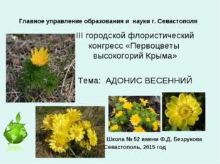Главное управление образования и науки г. Севастополя III городской флористич