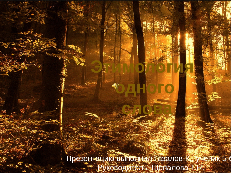 Этимология одного слова Презентацию выполнил Газалов К., ученик 5-б Руководит...